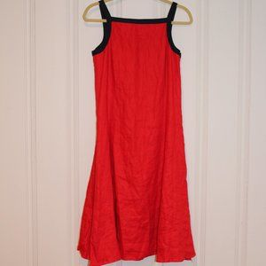 100% Linen Red and Blue Fit and Flare Dress
